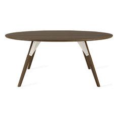 Clarke Round Coffee Table, White, Large, Walnut