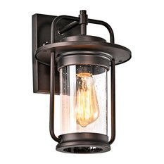 """Jeffrey Transitional 1 Light Rubbed Bronze Outdoor Wall Sconce 13"""" Height"""