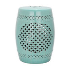 Safavieh Quatrefoil Garden Stool, Light Blue