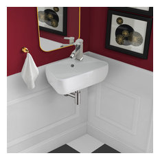 """Plaisir 18""""x11"""" Ceramic Wall Hung Sink With Faucet Mount, Right Side"""