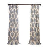 "Arabesque Blue Printed Cotton Twill Curtain Single Panel, 50""x84"""
