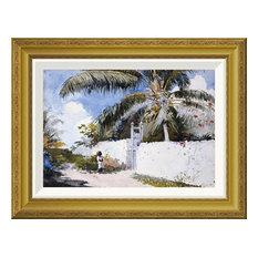 """A Garden In Nassau"" Framed Canvas Giclee by Winslow Homer, 22x17"""