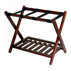 Casual Home - Luggage Rack With Shelf, Walnut - Clothing Valets and Suit Stands