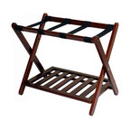 Luggage Rack With Shelf, Walnut
