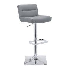 Low Back Adjustable Barstool, Grey