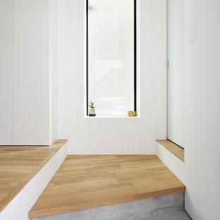 Стильный дизайн: маленькая узкая прихожая в скандинавском стиле с белыми стенами, одностворчатой входной дверью, черной входной дверью, коричневым полом, потолком с обоями и обоями на стенах - последний тренд