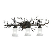 Trellis 3L Vanity Architectural Bronze with Clear Crystals