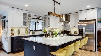 Eclectic White and Blue Kitchen Design Fairfax, VA