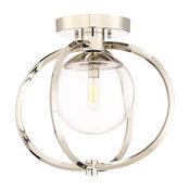 Piltz 1-Light Semi-flush Mount, Polished Nickel/Clear Glass