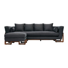 Large Sectional, Walnut Base, Paprika