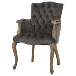 GDF Studio Ritner Charcoal Velvet Arm Dining Chair