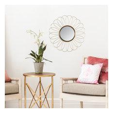 Solda Floral Pattern Wire Frame 28'' Mirror Gold