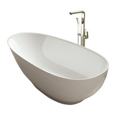 ADM Small Low-Height Freestanding Bathtub, Matte White, 63""