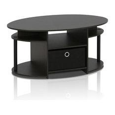 Furinno   Furinno Jaya Simple Design Oval Coffee Table With Bin, Walnut   Coffee  Tables