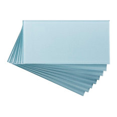 "3""x6"" Aspect Peel and Stick Glass Backsplash Tile, Set of 8, Glacier"