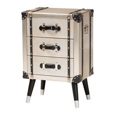 Silven Antique Silver Metal Trunk Inspired 3-Drawer Nightstand