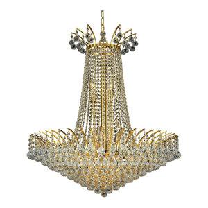 Elegant Victoria 16-Light Gold Chandelier Clear Spectra Swarovski