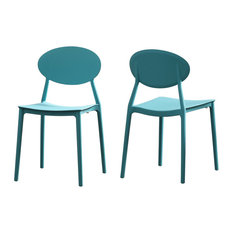 GDF Studio Brynn Outdoor Plastic Chairs, Teal, Set of 2