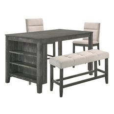 Rustic Gray 4-Piece Counter Height Dining Set With 3-Shelf Storage