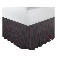 "Black With Tan Gold Stripes Fabric Dust Rfl King 78""X 80"""