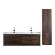 "63"" Streamline K1820-098-63-551S Double Floating Vanity, Brown"
