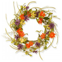 National Tree  22 in. Floral Daisy Wreath - Multi Colors