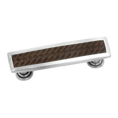 Laurey Churchill Satin Nickel / Saddle Brown Rectangle Pull 12490