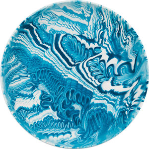 Poured Bowl, Dark Blue and White