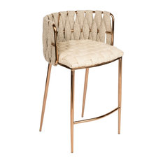 Milano Counter Chair In Off White Gold Legs