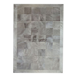 Patchwork Leather Cubed Cowhide Rug, Light Grey With Border, 140x200 cm