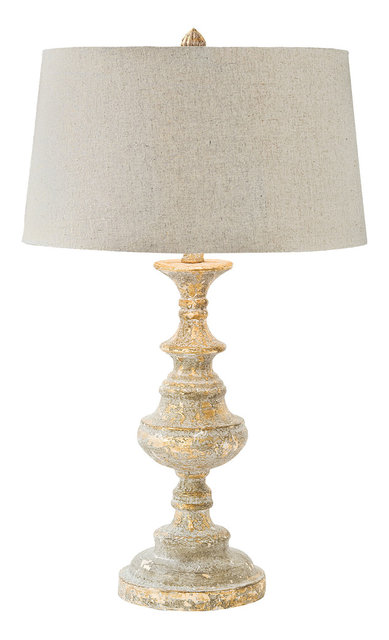Riom french country rustic turned wood table lamp