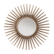 Ella Beveled Wall Mirror With Silver Pewter Sunbeam Frame