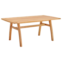 """Orlean 57"""" Outdoor Patio Eucalyptus Wood Dining Table, Natural"""