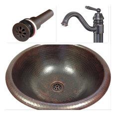 "15"" Round Copper Vessel Vanity Sink, Faucet & Drain Combo"