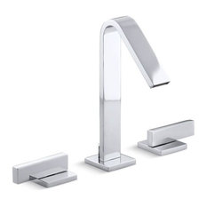 Kohler Loure Widespread Bathroom Sink Faucet with Lever Handles, Polished Chrome