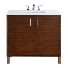 "Metropolitan 36"" American Walnut Single Vanity 3CM Snow White Quartz Top"