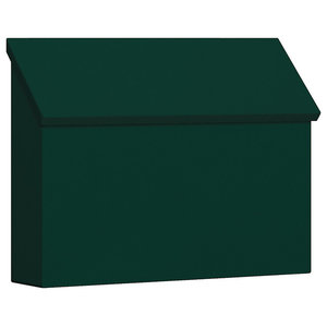 Traditional Mailbox, Standard, Horizontal Style, Green