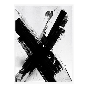 Letter X Monochrome Abstract Art Print, Print Only, 50x70 cm