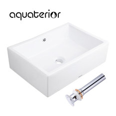 Aquaterior Rectangle Porcelain Ceramic Bathroom Sink with Drain & Overflow