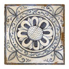 Medieval Black and White Flower Terracotta Tiles, Set of 4