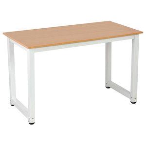 Modern Stylish Desk, Steel Metal Frame and MDF Top, Sandal Wood