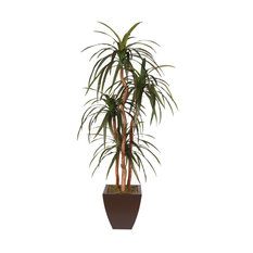 Silk Yucca Tree With Natural Wood Trunks in Metal Pot