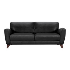 Jedd Contemporary Sofa, Genuine Black Leather With Brown Wood Legs