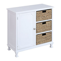 White Combination Cabinet with 3 Wicker Basket Drawers in White Finish - Made by Bailey Street Home