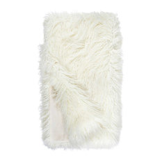 "Ivory Tibetan Lamb Signature Series Faux Fur Throw Blanket, 60""x86"