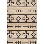 nuLOOM - Hand-Loomed Geometric Native Symbol Rug, Natural, 5'x8' - Point your floors in the right direction with the Loomed Geometric Area Rug. Crafted from a blend of jute and cotton, this rug is highlighted with black and tan hues. The geometric pattern makes the Loomed Rug a relevant addition to your living space.