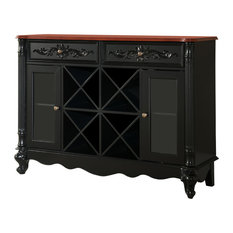 Pilaster Designs Pauline Sideboard With Wine Rack Black And Walnut Bar
