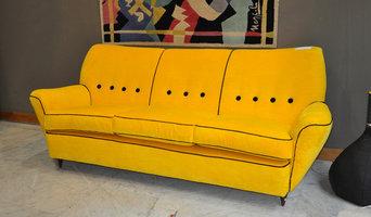 1959 sofa in linen velvet and black grosgrein