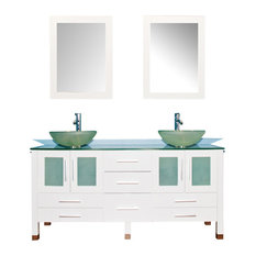 """Cambridge 63"""" Solid Wood Vanity, Frosted Glass Counter, Double Vessel Sinks"""