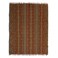 Striped Paisley Boiled Wool Throw, Maroon, Turquoise